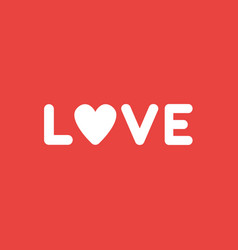 Icon concept of love word with heart on red vector