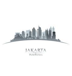 jakarta indonesia city skyline silhouette white vector image