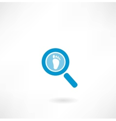 Magnifying glass with a human footprint vector