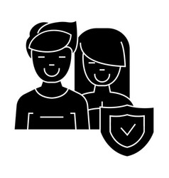 man and woman - front - shield icon vector image
