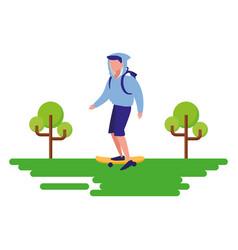 man riding skateboard outdoors image vector image