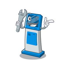 Mechanic digital information cartoon kiosk next to vector