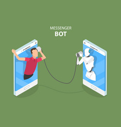 Messenger bot and ai flat isometric concept vector