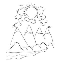 Mountains clouds and sun design vector