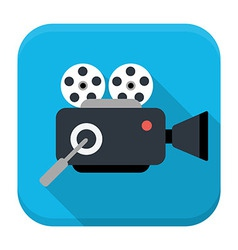 Movie cam flat app icon with long shadow vector image
