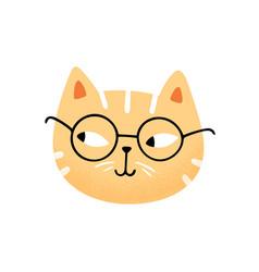 Muzzle funny cute cat in glasses flat vector