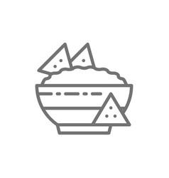 Nachos mexican fast food guacamole chili dish vector