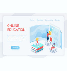 online education elearning isometric landing page vector image