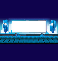 outdoor cinema in city large bright screen in vector image