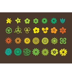 Pack of flowers icons vector image