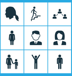 Person icons set collection of work man ladder vector