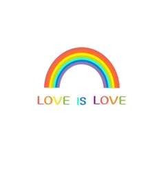 Rainbow on white background Love is love text vector