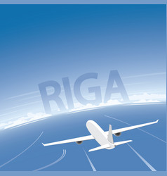 Riga skyline flight destination vector