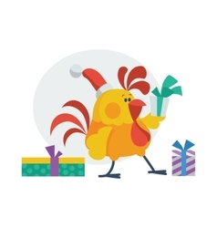 Rooster Bird Opens Presents Cock in Santa s Hat vector image