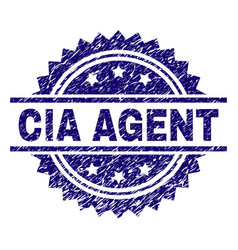 Scratched textured cia agent stamp seal vector