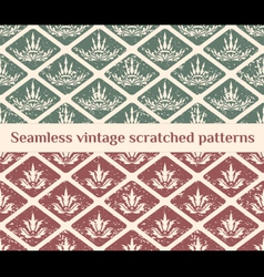 Seamless scratched vintage patterns vector image