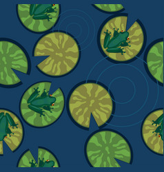 seamless texture frogs on lily pads on a pond vector image