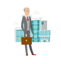 Senior caucasian businessman holding briefcase vector