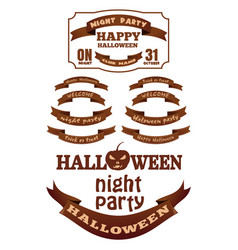 set halloween ribbons and labels with inscriptions vector image