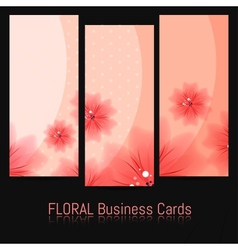 Set of Bussines Cards with Floral Pattern vector image