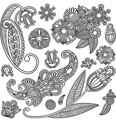 Set of hand draw ornate black flower design vector