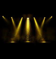 stage lights gold spotlight beams with sparkles vector image