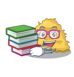 Student with book hay bale mascot cartoon vector