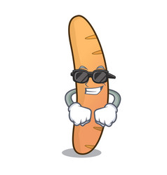 Super cool baguette character cartoon style vector
