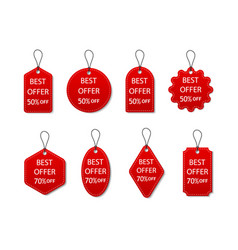 tag sale red label discount and price vector image