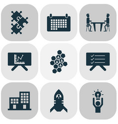 teamwork icons set with calendar team honeycomb vector image