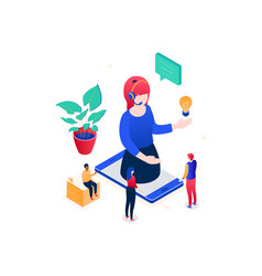 Technical support - modern colorful isometric vector