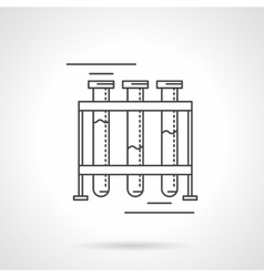 Test-tubes rack flat line design icon vector image