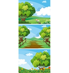Three scenes of countryside with trees and tracks vector