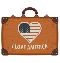 travel suitcase with words i love america vector image