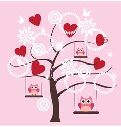 Tree heart owl vector