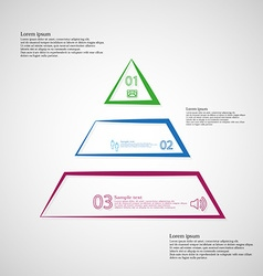 Triangle template horizontally divided to three vector image