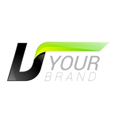 U letter black and green logo design Fast speed vector image