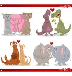 Valentine cartoon love set vector