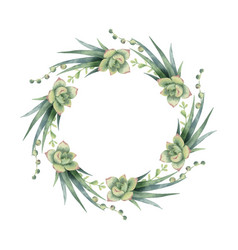 Watercolor wreath cacti and succulent vector