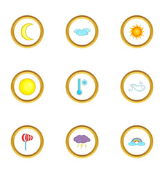 weather report icons set cartoon style vector image