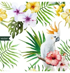 white parrot hibiscus tropical palm trees vector image