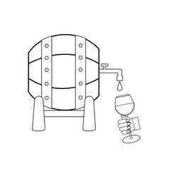 wine barrel outline vector image