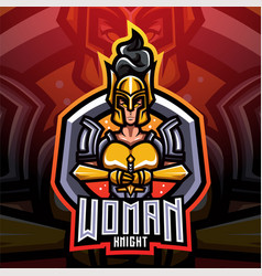 Women knight esport mascot logo vector