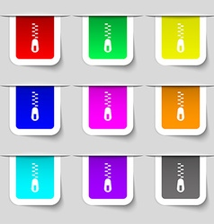 Zipper Icon sign Set of multicolored modern labels vector