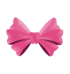 pink ribbon bow icon image vector image