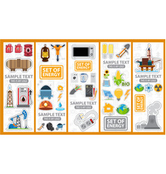 set of energetics icons and logos energy vector image vector image