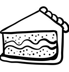 black and white piece of cake vector image vector image