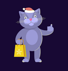 cat wearing santas hat vector image vector image