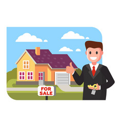 Realtor shows the house for sale vector