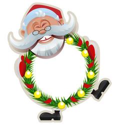 santa claus christmas wreath of fir branches vector image vector image